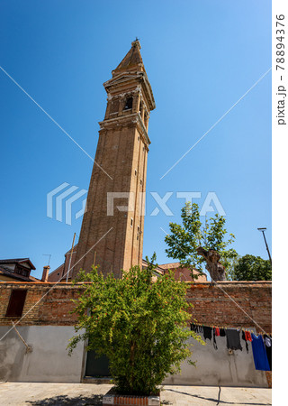 Leaning Bell Tower of the Church of San Martino in Burano Island - Venice Italy 78894376