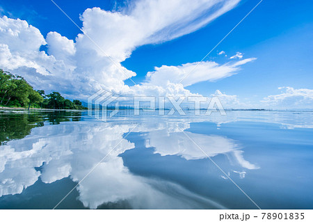 夏空 壮大 入道雲 海 反射 78901835