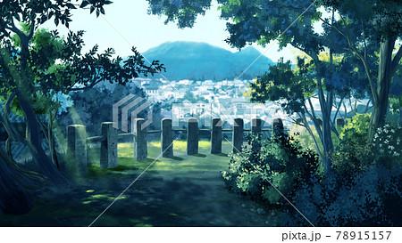 森林を抜ける風景画 78915157