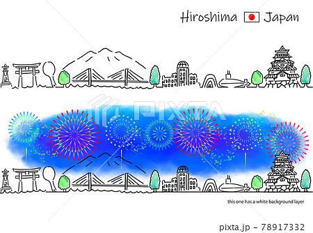 広島の街並みと花火のシンプル線画セット 78917332