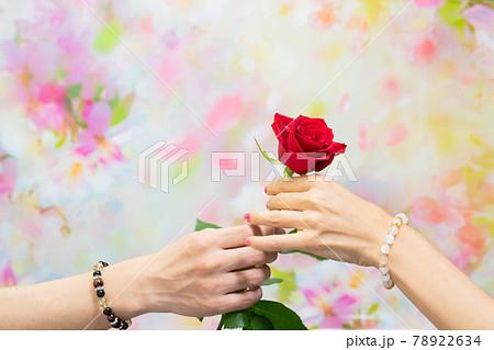 薔薇の花を渡すパワーストーンをしたカップルの手元 78922634