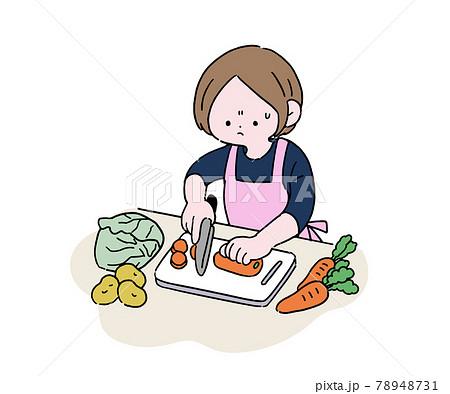 野菜を切る主婦 困り顔 78948731