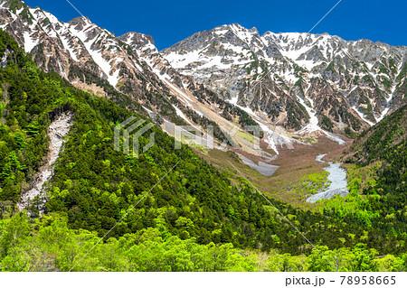《長野県》新緑の上高地・岳沢をのぞむ 78958665