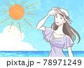 夏の太陽と女性 78971249