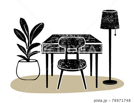 室内イラスト。インテリア、家具のイラスト 78971748