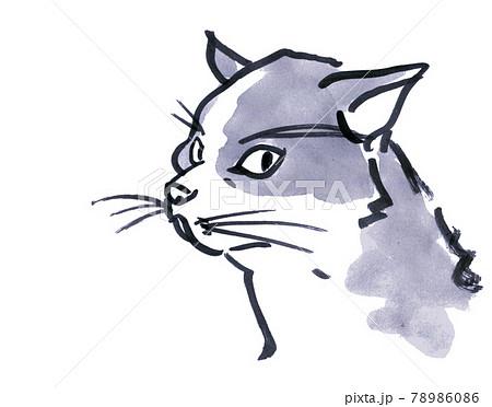 猫水墨画風 紺 78986086