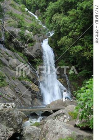岩場に座り唐津見帰りの滝を眺める人 78987737