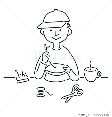 刺繍をする男の子の線画イラスト 78995310