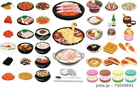 韓国の人気グルメ・料理イラスト①(焼肉、チーズダッカルビ、ヤンニョムチキン、トゥンカロン) 79009693