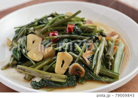 空心菜のオイスターソース炒め(手料理) 79009843
