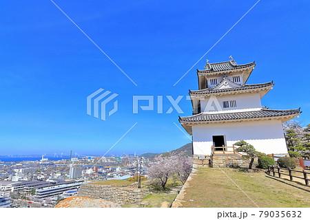 【香川県】桜咲く春の丸亀城(現存天守と石垣の名城) 79035632