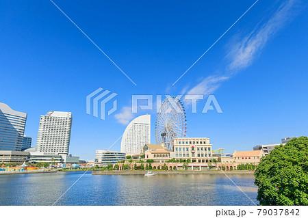 横浜_みなとみらい地区の都市風景 79037842