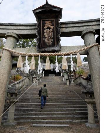 御袖天満宮の石段を上る青年 (広島県尾道市) 79044671