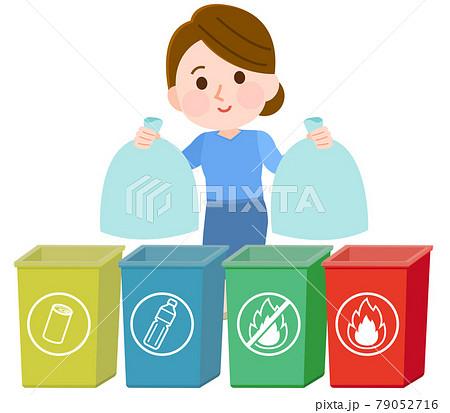 ゴミを分別して出す女性 マークあり イラスト 79052716
