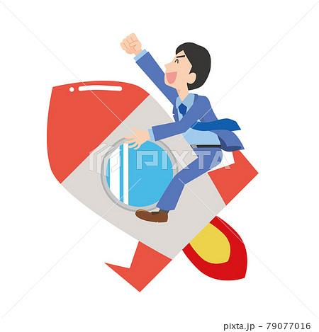 ロケットに乗って飛んでいく男性会社員 79077016