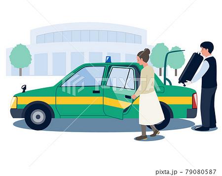 タクシーに乗り込もうとする女性とスーツケースをトランクに入れようとする男性タクシードライバーのベクタ 79080587