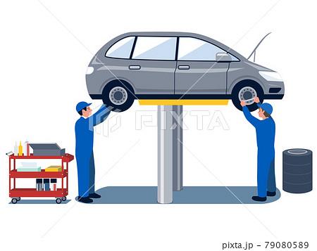 自動車整備場で乗用車の整備をする2人の男性自動車整備士のベクターイラスト 79080589