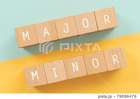 メジャーとマイナー 「MAJOR MINOR」と書かれた積み木ブロック 79096479