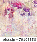 Pink and purple fuchsia flowers watercolor background 79103358
