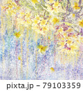 Abstract watercolor background with Yellow Plumeria flowers. 79103359