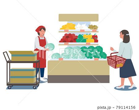 スーパーマーケットでキャベツの品出しをする店員と野菜売り場で買い物をする女性客のベクターイラスト 79114156