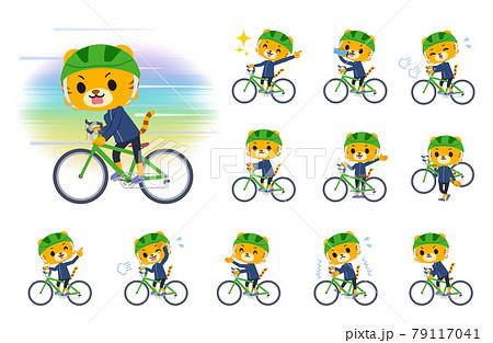 ロードバイクに乗ったトラの男の子のセット 79117041