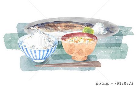 秋刀魚とご飯と味噌汁のセット 79120572