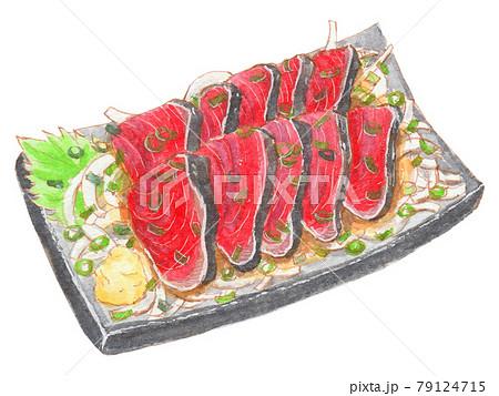手描き飲食メニュー カツオのタタキ 79124715
