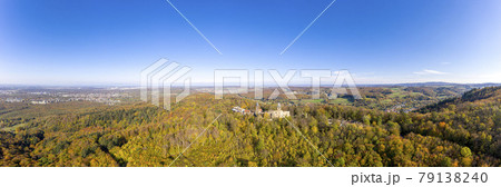 Drone photo of Frankenstein Castle near Darmstadt in Germany with a view over the Rhine-Main area 79138240