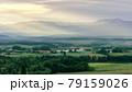 北海道・美瑛町 光芒射す幻想的な初夏の夜明けの風景 79159026