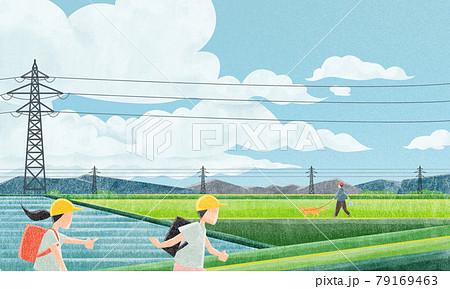 鉄塔のある田園風景(小学生と犬の散歩)水彩風手書きイラスト 79169463