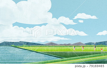 田園風景(小学生の登下校)水彩風手書きイラスト 79169465