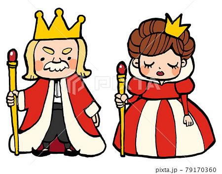 童話に出てきそうな王様と女王様のかわいい手描きイラスト 79170360