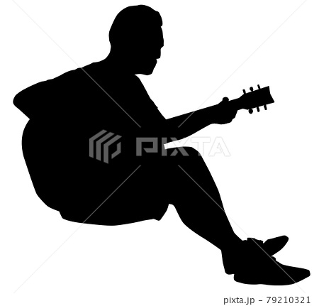 ギター演奏者シルエット 79210321