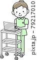 ワゴンに載せたPCで電子カルテを見る女性看護師 79217010