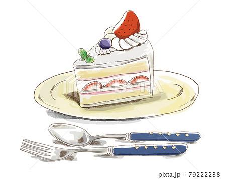 ミリペンとマーカーで描いたようなイチゴケーキとカトラリー 79222238