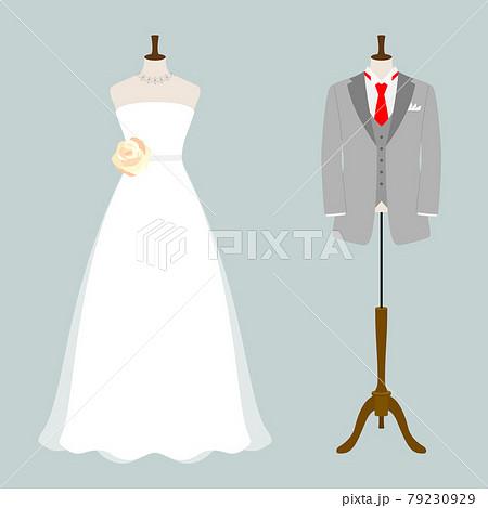 タキシードとウエディングドレスのベクターイラスト 79230929