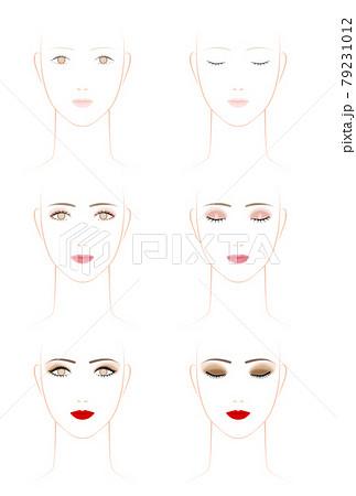 女性の化粧のタイプ.素顔とピンク系メイクとゴージャスメイク 79231012