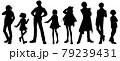 アニメ風キャラクターのシルエットイラストセット 79239431