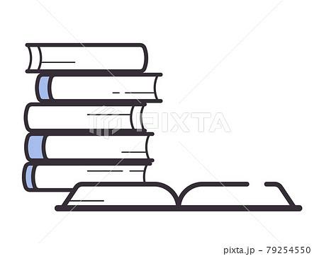 シンプルな線の本のイラスト_積んだ本と開いた本 79254550