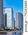 東京の都市風景 月島 朝潮大橋から勝どき方面の風景 79283886