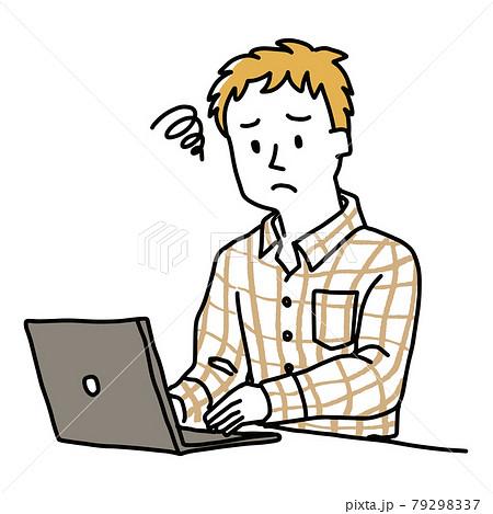 ノートパソコンの前でがっかりしている男性 79298337