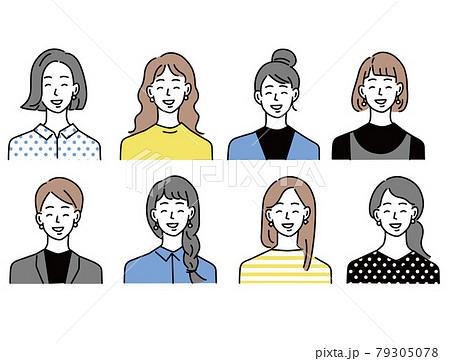 人物アイコンイラスト(女性、10代、20代、ファッション、髪型、若者、 顔パターン)  79305078