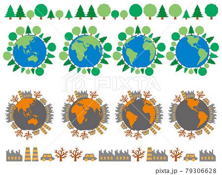 木が生えている地球と汚れている地球のイラストセット 環境保護と環境汚染のイメージ 79306628