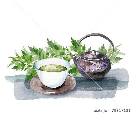 ヨモギとお茶セットの水彩画 79317181