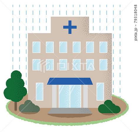水害に遭う病院のベクターイラスト 79318048