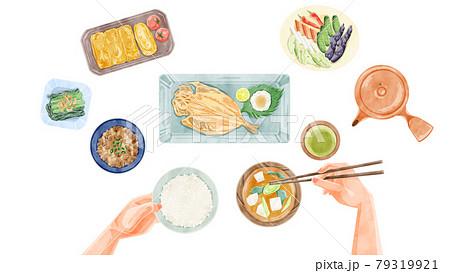 日本の朝食(和食)手描き水彩風イラスト 79319921