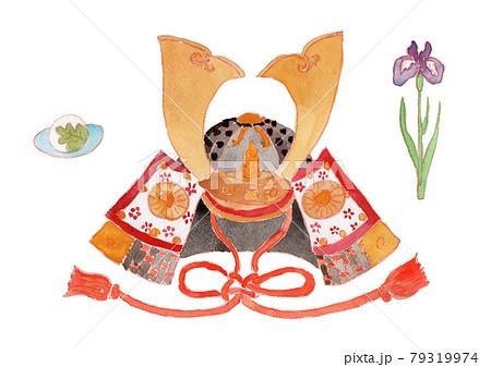かぶと、花しょうぶ、柏餅、こどもの日の水彩イラスト 79319974
