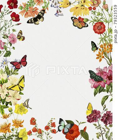 レトロな花と蝶々のイラスト 79323559