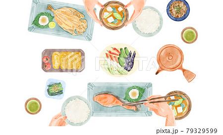 日本の朝食(和食)食卓風景手描き水彩風イラスト 79329599